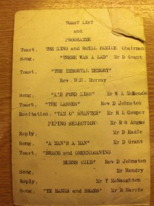RUNNING ORDER OF THE 1934 SUPPER